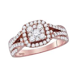 1 CTW Round Diamond Square Cluster Bridal Wedding Engagement Ring 14kt Rose Gold - REF-97W5H