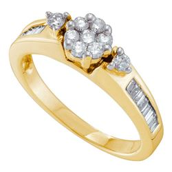 1/2 CTW Womens Round Diamond Flower Cluster Fashion Ring 14kt Yellow Gold - REF-56N6A
