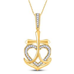 1/10 CTW Womens Round Diamond Heart Cross Anchor Pendant 10kt Yellow Gold - REF-17N6A