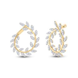 1 CTW Womens Round Diamond Twist Vine Hoop Earrings 14kt Yellow Gold - REF-95T5V