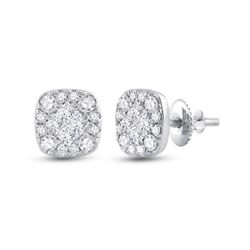 1/2 CTW Womens Princess Round Diamond Square Cluster Earrings 14kt White Gold - REF-47X6T