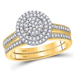 1/3 CTW Round Diamond Cluster Bridal Wedding Ring 10kt Yellow Gold - REF-34N3A