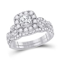 1 & 1/2 CTW Round Diamond Bridal Wedding Ring 14kt White Gold - REF-241R9X