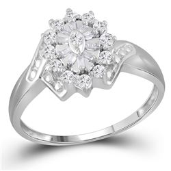 1/4 CTW Womens Round Diamond Cluster Ring 14kt White Gold - REF-23F9W