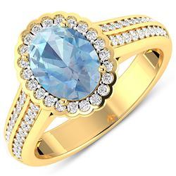 Natural 1.82 CTW Aquamarine & Diamond Ring 14K Yellow Gold - REF-70F9N