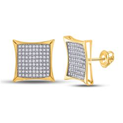 1/2 CTW Womens Round Diamond Square Earrings 10kt Yellow Gold - REF-23Y3N