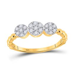 1/3 CTW Womens Round Diamond Triple Flower Cluster Ring 10kt Yellow Gold - REF-29V4Y