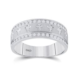 1/2 CTW Mens Round Diamond Wedding Cross Band Ring 14kt White Gold - REF-104V9Y