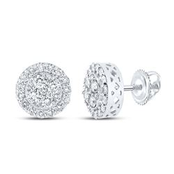 7/8 CTW Mens Round Diamond Cluster Earrings 10kt White Gold - REF-45X2T