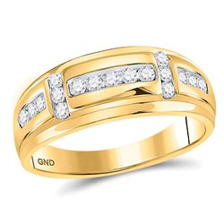1/2 CTW Mens Round Diamond Wedding Band Ring 10kt Yellow Gold - REF-54W5H