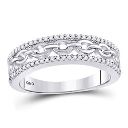 1/6 CTW Womens Round Diamond Chain Link Fashion Band Ring 10kt White Gold - REF-23H3R