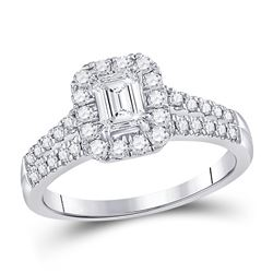 1 CTW Emerald Diamond Solitaire Bridal Wedding Engagement Ring 14kt White Gold - REF-184W3H