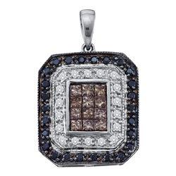 3/4 CTW Womens Black Brown Diamond Rectangle Cluster Pendant 14kt White Gold - REF-51M8F