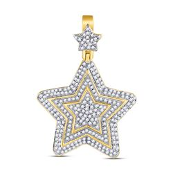 3/4 CTW Mens Round Diamond Concentric Star Charm Pendant 10kt Yellow Gold - REF-59N9A