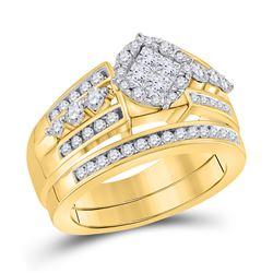 1 CTW Princess Diamond Bridal Wedding Ring 14kt Yellow Gold - REF-136Y4N