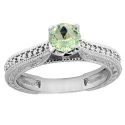 0.57 CTW Amethyst & Diamond Ring 14K White Gold - REF-53X2M