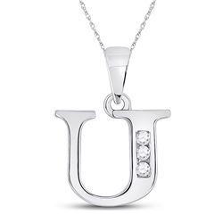 1/20 CTW Womens Round Diamond U Initial Letter Pendant 10kt White Gold - REF-8H3R