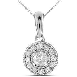 1/4 CTW Womens Round Diamond Solitaire Pendant 14kt White Gold - REF-27R3X