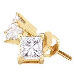 7/8 CTW Unisex Princess Diamond Solitaire Stud Earrings 14kt Yellow Gold - REF-136F4W