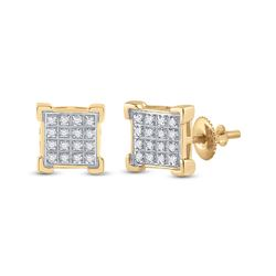 1/10 CTW Mens Round Diamond Square Cluster Earrings 10kt Yellow Gold - REF-15A2M