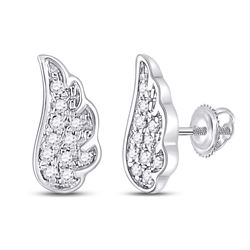 1/20 CTW Womens Round Diamond Angel Wing Stud Earrings 14kt White Gold - REF-9H5R