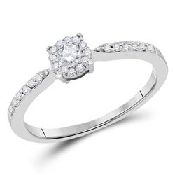 1/4 CTW Round Diamond Solitaire Bridal Wedding Engagement Ring 10kt White Gold - REF-24H5R