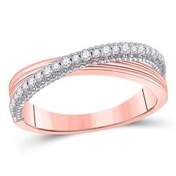 1/5 CTW Womens Round Diamond Crossover Fashion Ring 14kt Two-tone Gold - REF-38W2H