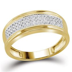 1/10 CTW Mens Round Diamond Wedding Triple Row Band Ring 10kt Yellow Gold - REF-33R5X