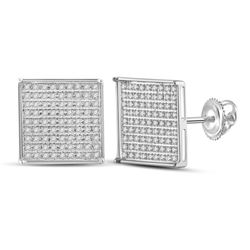 1/2 CTW Womens Round Diamond Square Earrings 14kt White Gold - REF-27H3R