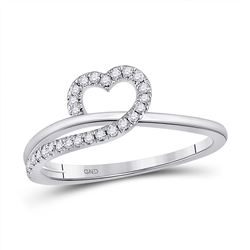 1/6 CTW Womens Round Diamond Heart Ring 10kt White Gold - REF-22V5Y