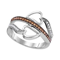 1/5 CTW Womens Round Brown Diamond Heart Crossover Ring 10kt White Gold - REF-20T5V