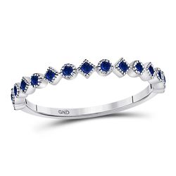 1/5 CTW Womens Round Blue Sapphire Stackable Band Ring 10kt White Gold - REF-16A4M