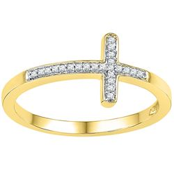 1/20 CTW Womens Round Diamond Cross Religious Band Ring 10kt Yellow Gold - REF-17H3R