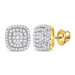 1/4 CTW Womens Round Diamond Square Frame Cluster Earrings 10kt Yellow Gold - REF-27V3Y