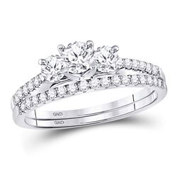 1 CTW Round Diamond 3-stone Bridal Wedding Ring 14kt White Gold - REF-129F5W