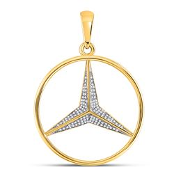 1/3 CTW Mens Round Diamond Mercedes Charm Pendant 10kt Yellow Gold - REF-42M2F