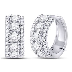 1 CTW Womens Round Diamond 3-Row Huggie Earrings 14kt White Gold - REF-102N3A