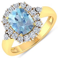 Natural 2.34 CTW Aquamarine & Diamond Ring 14K Yellow Gold - REF-82H3M