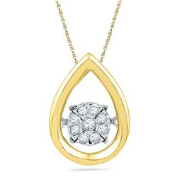 1/12 CTW Womens Round Diamond Moving Twinkle Teardrop Pendant 10kt Yellow Gold - REF-15V2Y