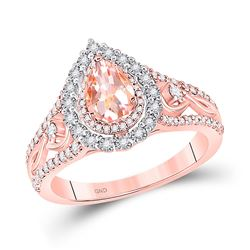 1/2 CTW Womens Pear Morganite Diamond-accent Solitaire Ring 14kt Rose Gold - REF-68V2Y