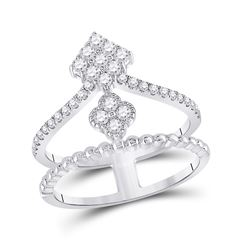 1/2 CTW Womens Round Diamond Offset Square Fashion Ring 10kt White Gold - REF-40M8F