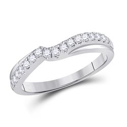 1/3 CTW Womens Round Diamond Contour Wrap Ring 14kt White Gold - REF-44W2H