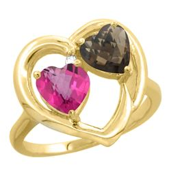 2.61 CTW Diamond, Pink Topaz & Quartz Ring 14K Yellow Gold - REF-33H9M
