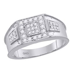 1/2 CTW Mens Round Diamond Square Ring 14kt White Gold - REF-92V6Y