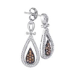 1/3 CTW Womens Round Brown Diamond Teardrop Dangle Earrings 10kt White Gold - REF-27A3M