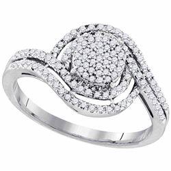 1/3 CTW Womens Round Diamond Swirl Cluster Ring 10kt White Gold - REF-27M3F