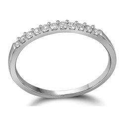 1/6 CTW Womens Round Diamond Wedding Anniversary Band Ring 14kt White Gold - REF-19X3T