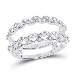 3/8 CTW Womens Round Diamond Wedding Wrap Wrap Ring 14kt White Gold - REF-70X3T
