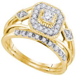 1/3 CTW Diamond Round Bridal Wedding Ring 10kt Yellow Gold - REF-44T2V