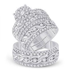 2 & 7/8 CTW His Hers Round Diamond Halo Matching Wedding Set 14kt White Gold - REF-272W6H
